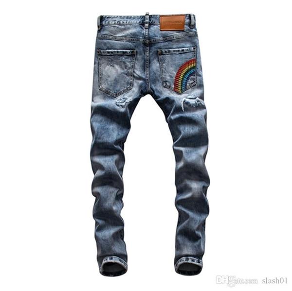 2019 2020 Fashion Designer de haute qualité Wear Hommes Trou révolutionnaire Locomotive Jeans Minceur moto Jeans Hip-hop pour hommes »