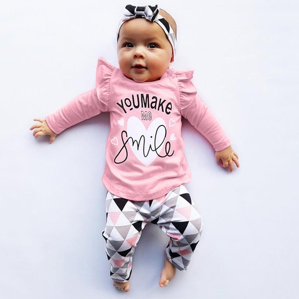 Yenidoğan Giyim Yürüyor Bebek Bebek Kız Erkek Giyim Harf Baskı Geometrik Pantolon Kıyafetler Seti roupa infantil Tops
