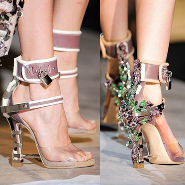 75c8b36f9 Sandalia Feminina Luxury Metal High Heel Crystal Designer Shoes Woman PVC  Gladiator Sandals Padlock Bejeweled Ankle