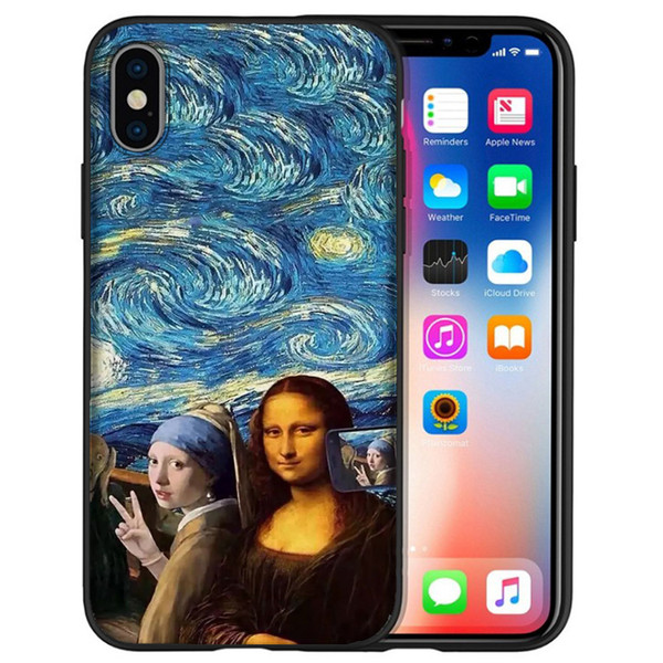 Coque Mona Lisa Selfie Phone Cases for iPhone XS Max XR X7 8 6S 6 Plus 5S 5 SE For iPod Touch 6 Black Soft Silicone Shell Cover.