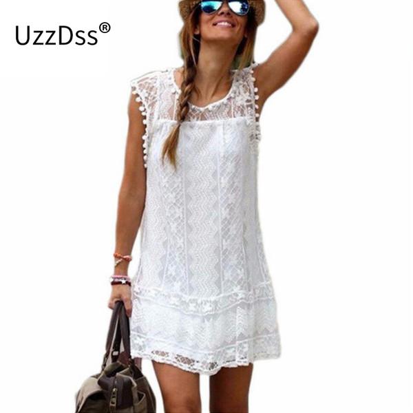 Uzzdss Verão 2018 Mulheres Praia Ocasional Curto Borla Preto Branco Mini Vestido de Renda Sexy Vestidos de Festa Vestidos S-xxl C19041801