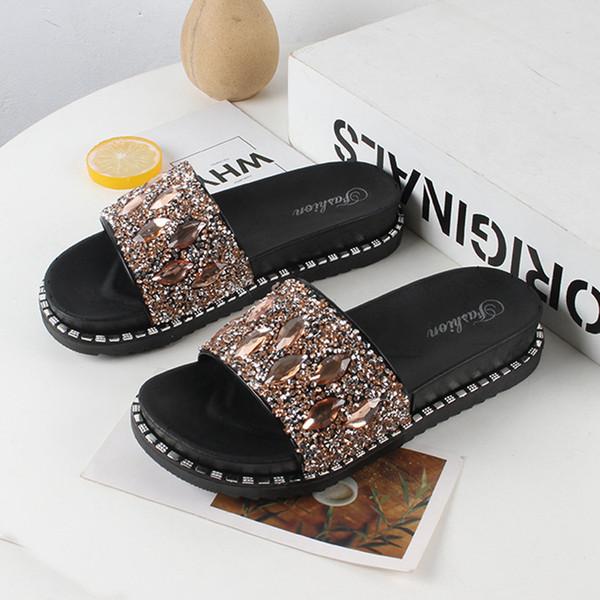 toptan payetler kadın sandalet ve terlik yaz New plaj ayakkabıları vahşi aşınma kaymaz kelime sürükle ücretsiz gönderim