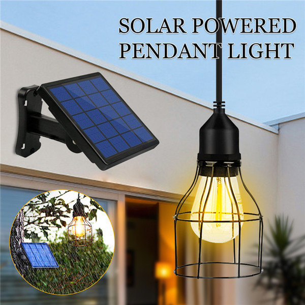 Outdoor Hanging Solar Powered Shed Light Pendant Lamp for Garden Yard Patio Balcony Home Landscape