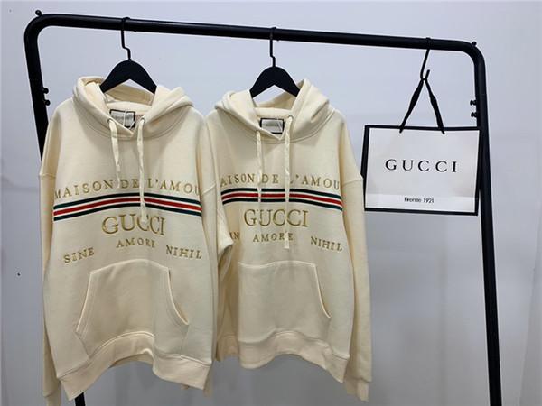 19fw luxuriöses Design Goldene embroiderd Buchstaben Pullover Männer Frauen Mode lässige Street Sweatshirts Outdoor-Shirts Hoodies