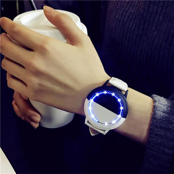 Женщины Мужчины смотреть простой водонепроницаемый LED круглый большой циферблат любителей смотреть смарт-Электроника кварцевые часы часы Relogio Feminino