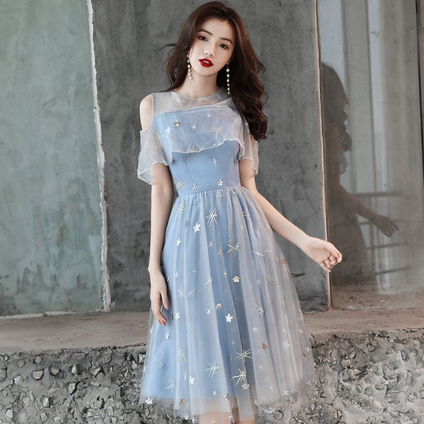 Bordado Estrela Lantejoulas Vestido de Festa Formal Sexy Fora Do Ombro Cheongsam Novidade Luz Azul Patchwork Malha Vestido Qipao Vestidos