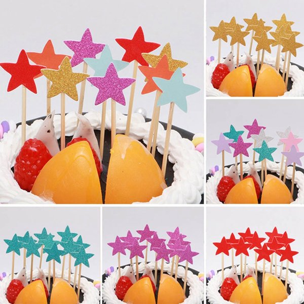 Pack of 10Pcs Star Cake Sticks Happy Birthday Cake Decoration Wedding Cupcake Picks Shower Baby Girls Birthday Party Decor