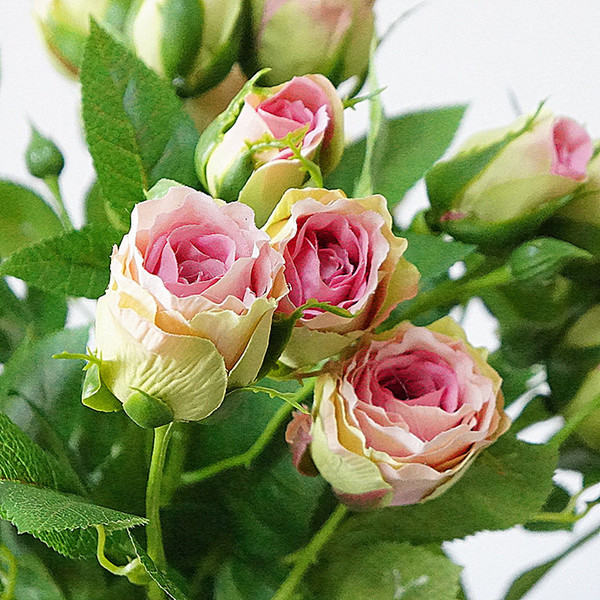 Hot Sale 2019 Decorative 4heads Artificial Branch Silk+plastic Flores Simulation Flowers For Home Hotel Wedding Decoration Rose