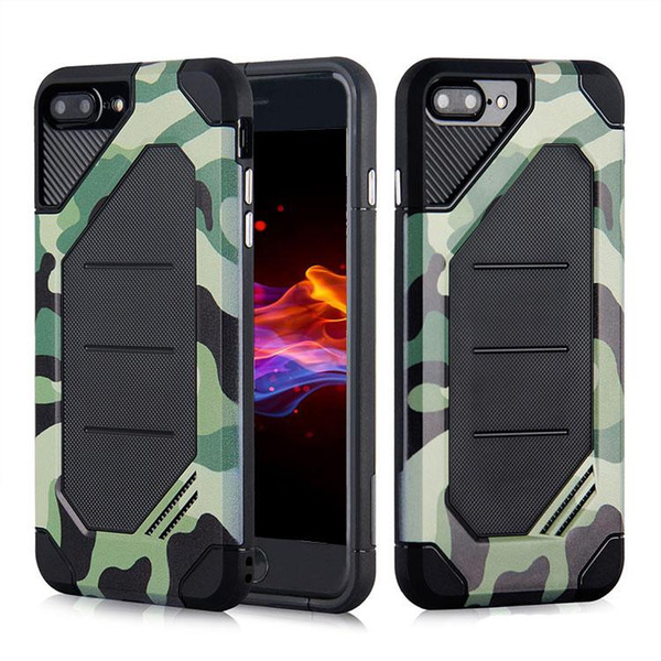 Camouflage Hybrid TPU PC Armor Phone Case Shockproof Cover for iPhone X 8 7 6s plus 5s Samsung Note8 S8 plus J7 J5 2017 OPP Aicoo