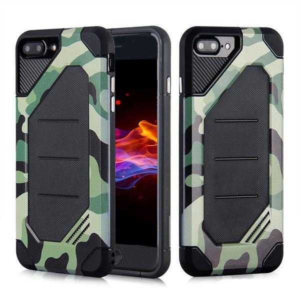 Camuflaje Hybrid TPU PC Armor Phone Case Cubierta a prueba de golpes para iPhone X 8 7 6s plus 5s Samsung Note8 S8 plus J7 J5 2017 OPP Aicoo