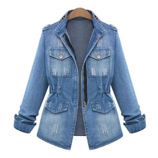 Russia Primavera Autunno New Noble Stars Lady Streetwear Denim Giacche Blu Patchwork Tasche Bottoni Dolcevita di cotone di alta qualità