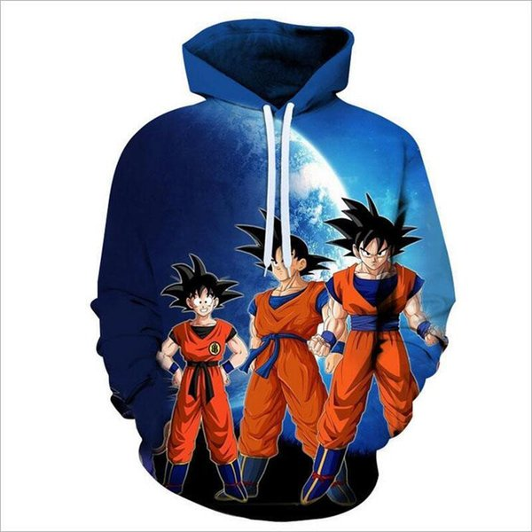 Manteau Hommes Anime Dragon Ball Super Saiyan Goku manches longues Sweats à capuche combat Pull Sweats polyester 3D Casual Pull Costume