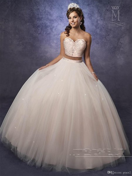 Light Pink Two Pieces Quinceanera Dresses Ball Gowns with Sheer Bolero Sparkly Major Beading Top Blush vestidos de 15 anos Lace Up Back