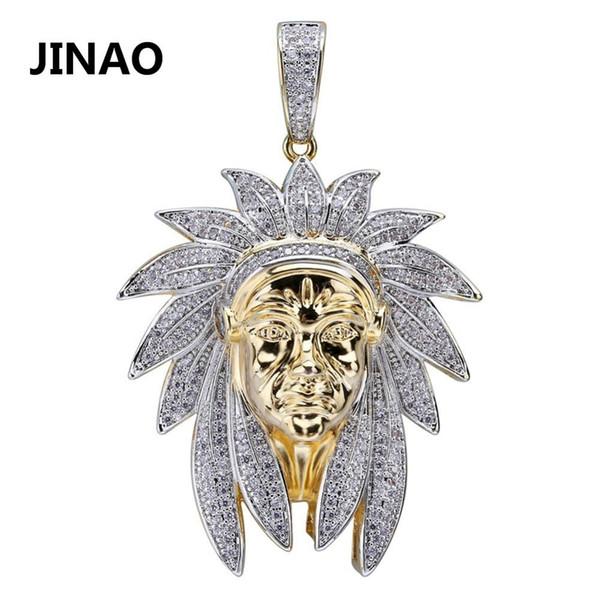 Iced Out Indian Chief Head Charm Collares pendientes Hip Hop Oro Color plata Cadenas para hombres Máscara Regalos indios Joyas Nativo J190625