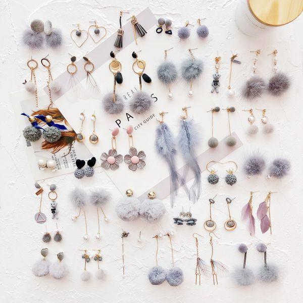 Бабочка Бабочка Высокая холодная серая серия Корейская бахрома Серьги-гвоздики Серьги оптом