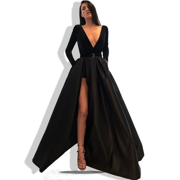 Mangas largas Vestidos de noche de satén 2019 Cuello en V Vestidos de baile largos y largos divididos vestidos de noche