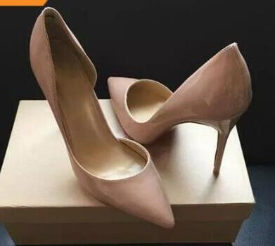 Brand Design Women Pointed Toe Pumps Patent Leather 12CM High Heels Women Cut-outs Red Bottom Shoes Sexy Ladies Wedding Party Single Shoes