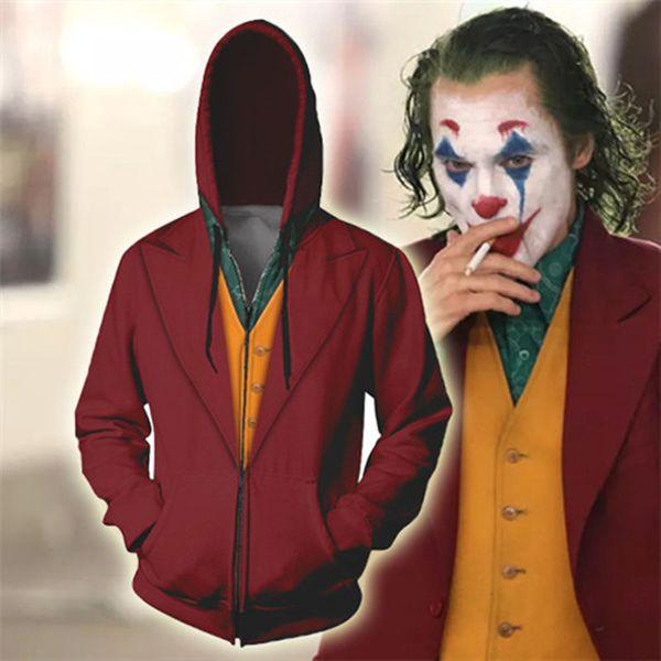 Novo Filme Joker Cosplay Hoodie Joaquin Phoenix Joker 3D Imprimir Zip Up camisola Outwear Casual roupas caem Homens Mulheres Jacket