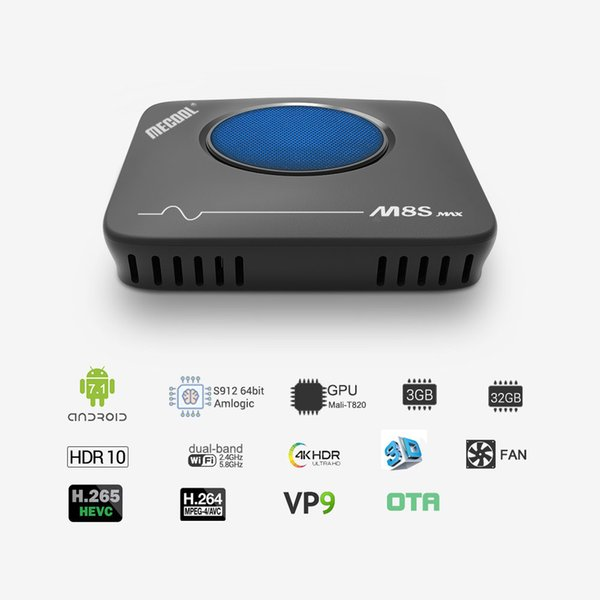 Mecool M8S Max TV Kutusu Amlogic S912 3 GB RAM 32 GB ROM 5G WIFI bluetooth 4.0 Android Uzaktan Kumanda ile 4 K VP9 H.265 TV Kutusu