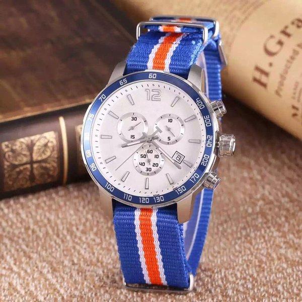 Commercio all'ingrosso Quickster T095 Round Top Tachimetro cronografo al quarzo Giappone tessuto blu cinturino NATO Nylon uomo orologi della vigilanza Mens Watches