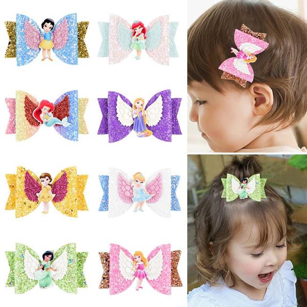 8styles Barrettes Princesse sequin Accessoires cheveux Filles Enfants Barrettes Glitter Bows cheveux Pincer main épingles à cheveux enfants Coiffe FFA2946