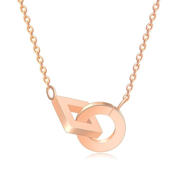 High Polishing Women Fashion Stainless Steel Geometric Crossing Square Circle Pendant Necklace 18K Rose Gold 316L Lady Necklace Jewelry