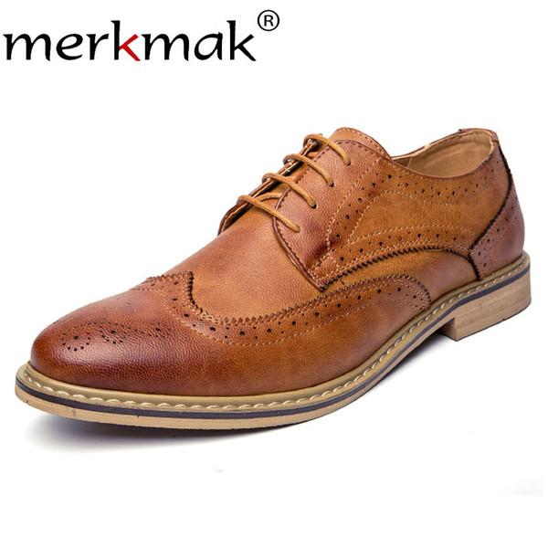 Cuir D'affaires En Acheter Robe Brogue Chaussures Oxfords Hommes À Été Pour Merkmak Lacets Formelle Casual Homme srdBthCoQx