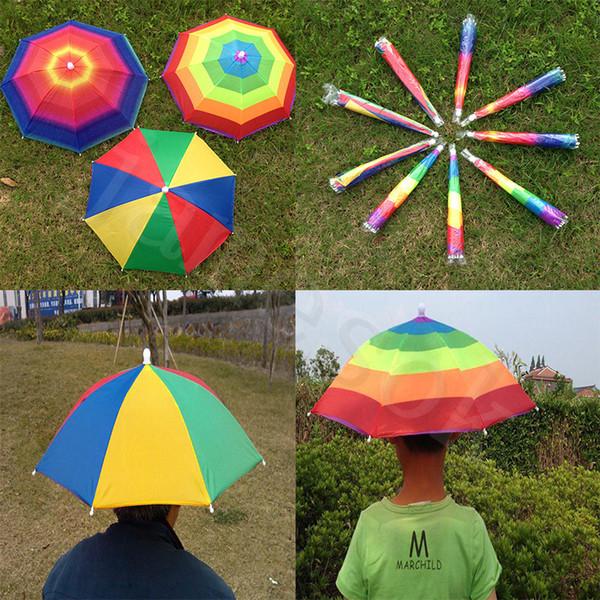Adultos Niños Al Aire Libre Plegable Paraguas Sombrero Sombrero Golf Pesca Camping Sombra Playa Sombrero Sombrero Cabeza sombreros dc331