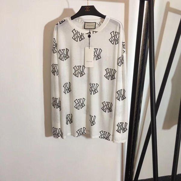 2019 Nova marca mulheres roupas camisa NY letras de diamante das mulheres marca impressão de roupas T-shirt das senhoras top de algodão manga Comprida camisa casual