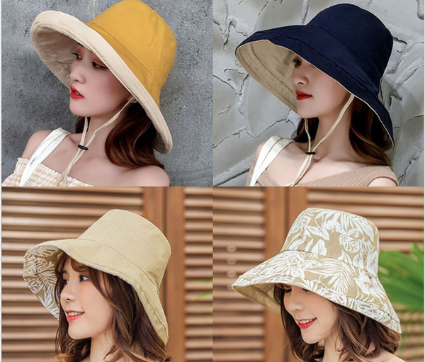 Chapéu de sol de abas largas para as mulheres na moda japonês preto harajuku harbour wind summer versátil chapéu de pescador de duas faces