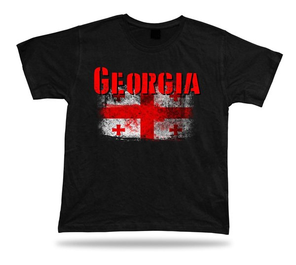 Georgia-Flagge T-Shirt T-Shirt T-Stück Stadtkarte fünf Geschenk des königlichen Hauses des königlichen Hauses der königlichen Flagge Zufällige männliche T-Shirtmänner übersteigt T-Stücke Freie Verschiffen-T-Stücke