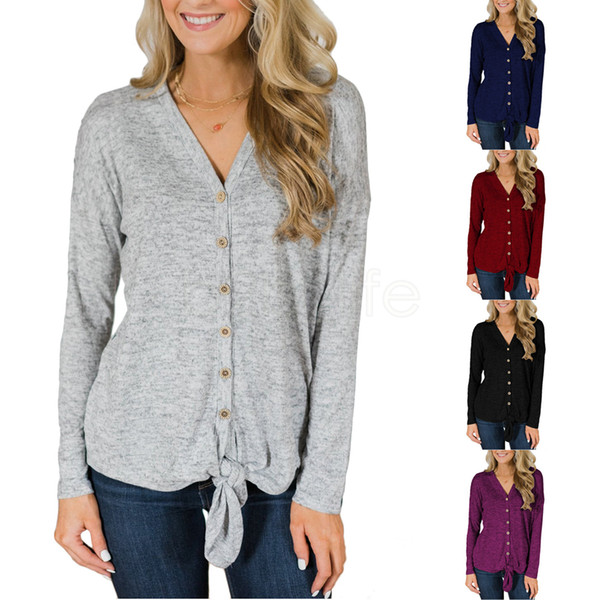 V-Neck Button Knit T-Shirt Women Long Sleeve Coat Knotted sweater Top Tie Knot Cardigan Casual Outwear AAA1766