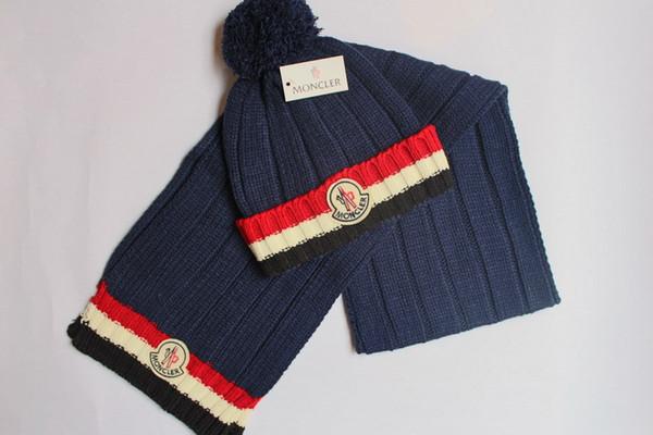 Erkekler kadınlar için kış marka şapka ve eşarp setleri sıcak tasarımcı örme kasketleri eşarp ve şapka setleri