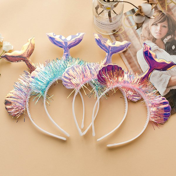 Shell Mermaid Tail Headbands Bright Laser Girls Hairbands Stage Photo Headwrap Hoop Kids Headwear Cosplay Hair Sticks Headband KKA6919