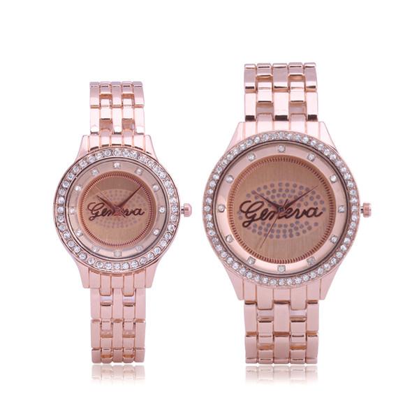 2019 luxe amoureux de la mode couple genève diamant alliage d'acier au métal montre en métal nouveaux hommes dames robe montre à quartz