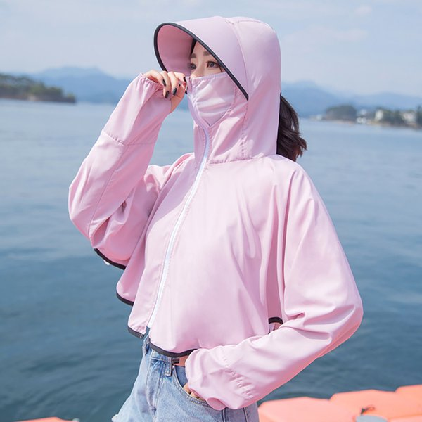 Women Ladies Cardigan Long Sleeve Open Front Sun Protection Clothing Coat Tops Sports Clothing Sun Face Neck Fishing Hooded Coat