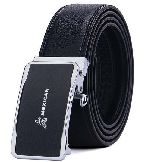 Espantapájaros versión coreana del cinturón de hebilla automática para hombres cinturón de cuero para hombres negro MMPD01160996 01