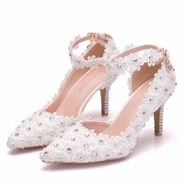 White Lace Flower Wedding Shoes Pointed Toe Bridal Shoes High Heel Women Pumps Shallow Pointed Toe AB color