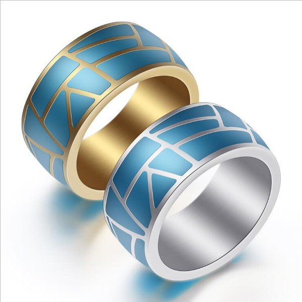 Blue Stainless Steel Rings for Men Women Imitation 925 Silver Drop Glue Band Ring Jewelry US Size 7-12