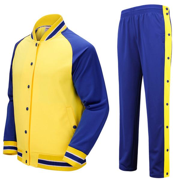 Competencia de los hombres de color amarillo Uniformes botón se adapta pantalones ropa llena de los deportes de encargo del baloncesto jerseys 513AB