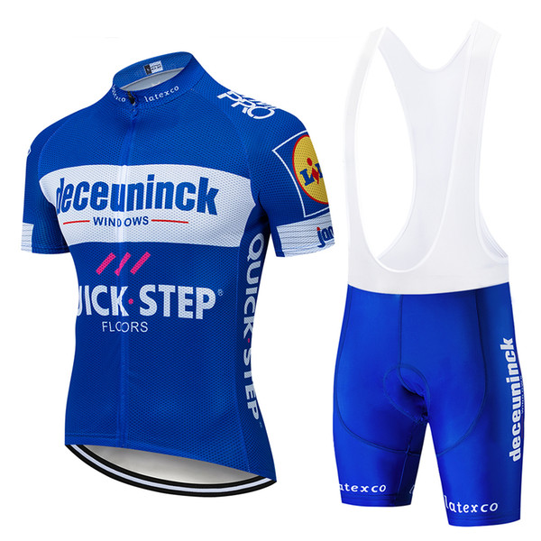 top popular 2019 New QUICK STEP Team cycling jersey gel pad bike shorts set MTB SOBYCLE Ropa Ciclismo mens pro summer bicycling Maillot wear 2019