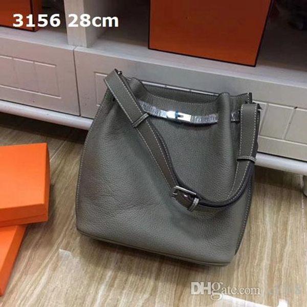 Nuevas bolsas de hombro Coming las mujeres bolsos ocasionales al aire libre Ideal robusto verdadera lichee de cuero de grano suave 28cm de ancho bolsas de cubo de primera calidad