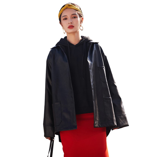 Harajuku Style Faux Leather Jacket Women Spring Long Windbreaker Outerwear 2019 New Fashion Washed PU Biker Jacket Loose Fit