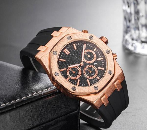 Prix de gros pas cher Montre de poignet Sport Sport 40mm Quartz Montre Homme Horloge avec bande de caoutchouc offshore