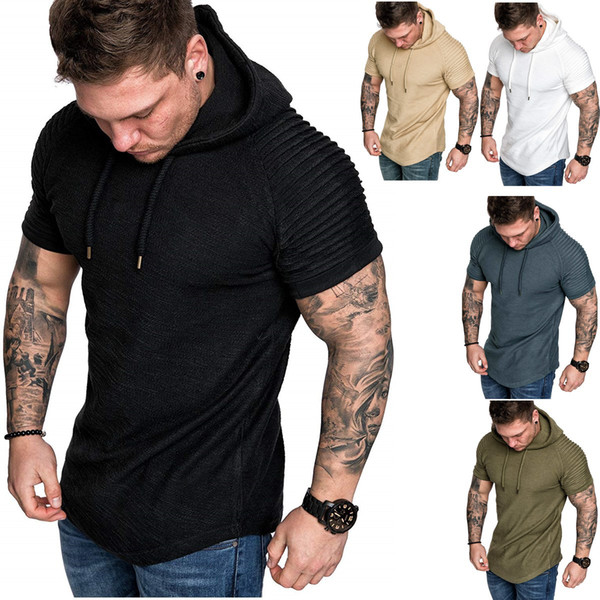 Мужские драпированные футболки с капюшоном летом сплошной цвет фитнес спортивные тренировки тройники с короткими рукавами топы