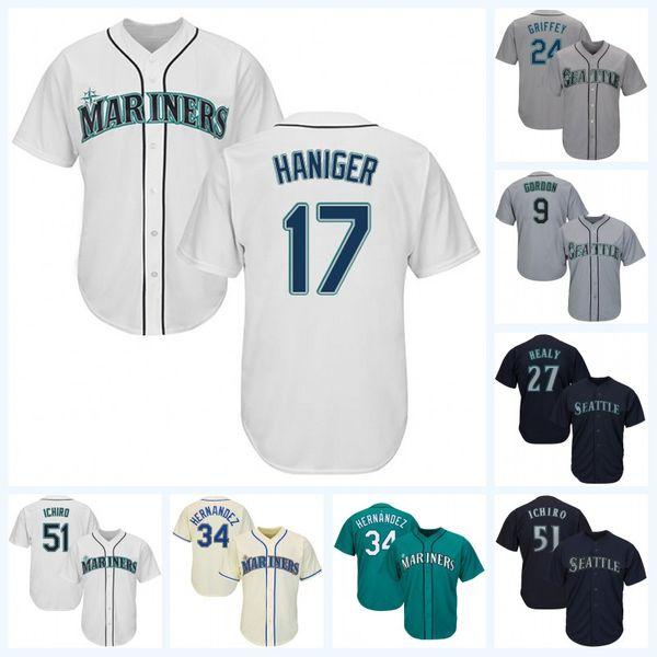 new product 27a83 3d6ed 2019 Youth Seattle 24 Ken Griffey 51 Ichiro Suzuki 1 Tim Beckham 17 Mitch  Haniger 32 Jay Bruce 33 Justus Sheffield Baseball Jersey From ...