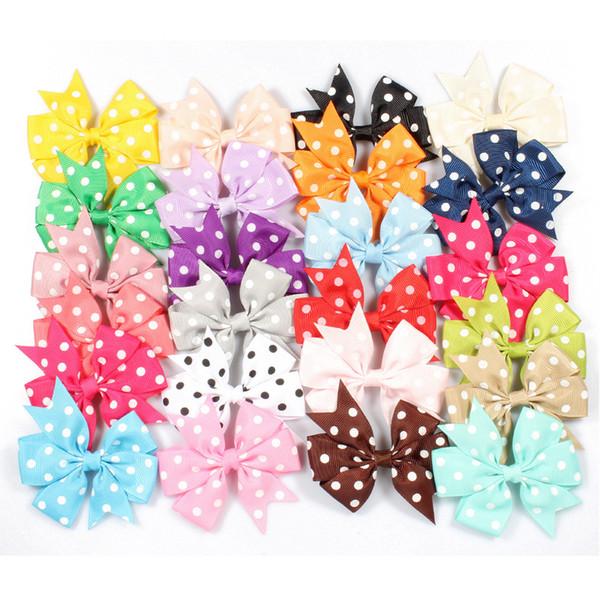 Girl Ribbon Bows Hair Clips Baby Dot Bowknot Designer Hairpins Children Bow Barrettes Hairclip Girls Hairpin Hair Accessories AAA2031