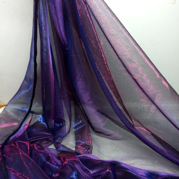 Vestido de noite Tecido Metálico Piscando Malha de Tecido Rridescence Malha Cor Mágica Tecidos Vestido de Noiva material Cosplay