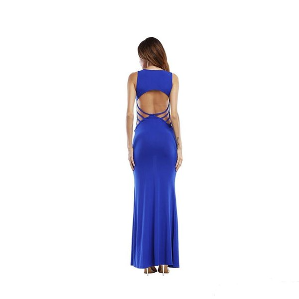 Women dress Crew neck sleeveless vest Solid color Sexy back Hollow out Elegant Lady Bodycon Waist Casual Long Dresses skirt Size S-XL D5