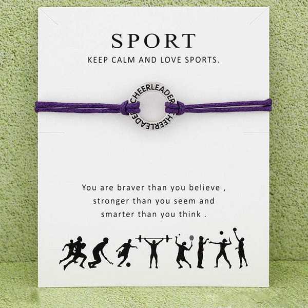 Cheerleader Sports Bracelet With Card infinity wish cheer leader Charm Wax rope warp bangle For women Men Fashion Jewelry Gift